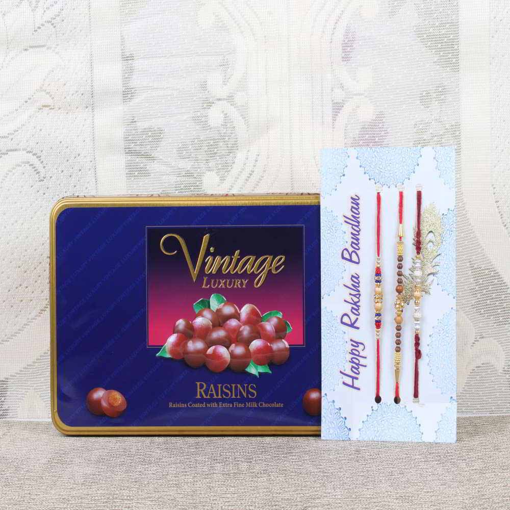 Vintage Luxury Raisins Chocolate Box with Three Rakhis