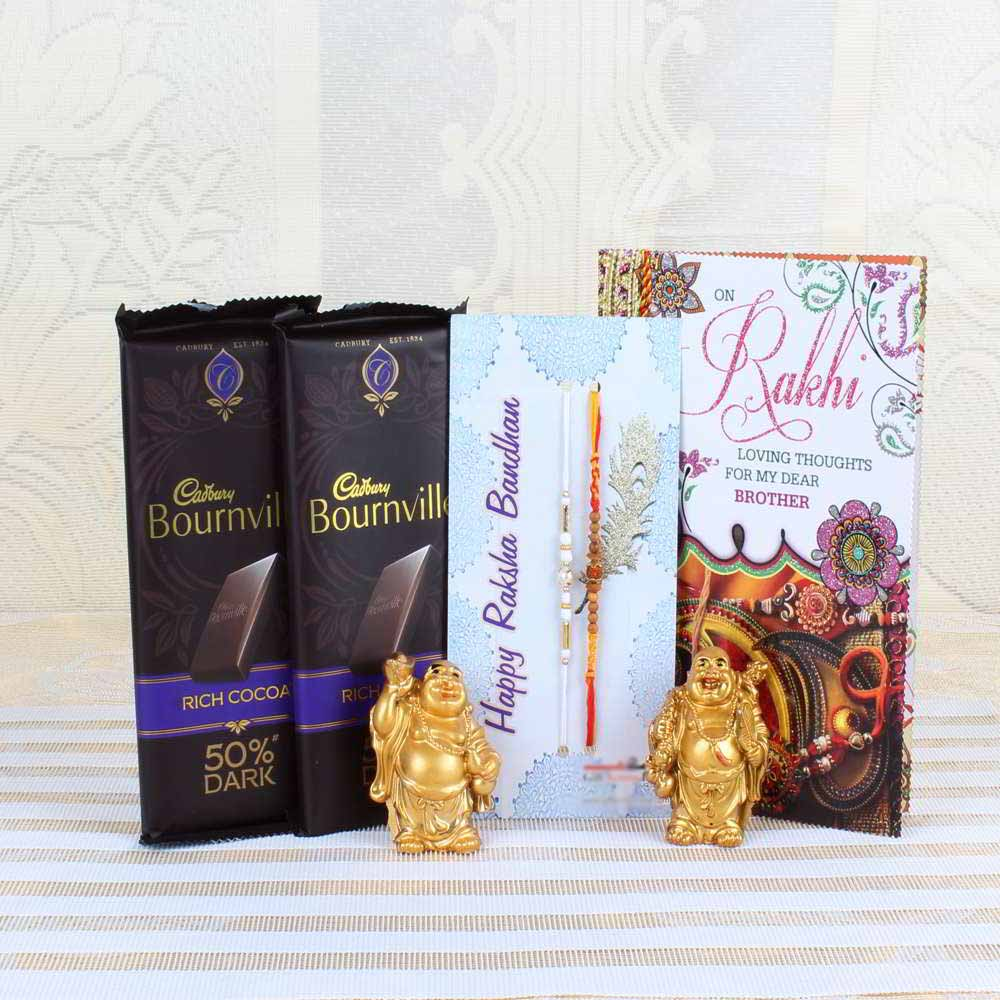 Cadbury Bournville Rich Cocoa 50% Dark Bar with Pair of Rakhis