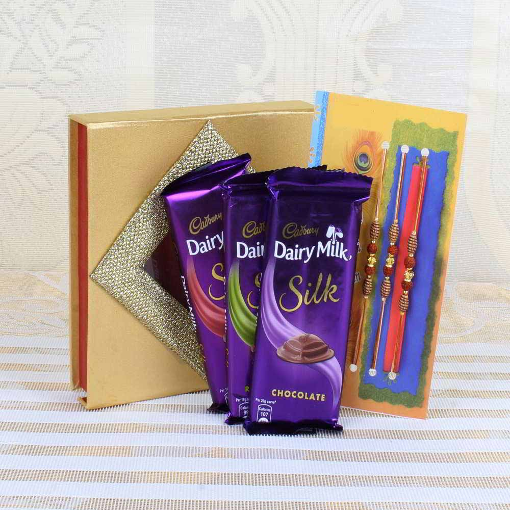 Three Rakhis with Cadbury Dairy Milk Silk Chocolate Bars