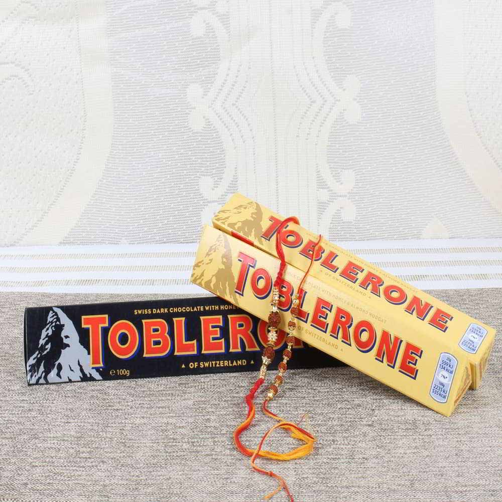 Toblerone Chocolate Bars with Pair of Rakhi