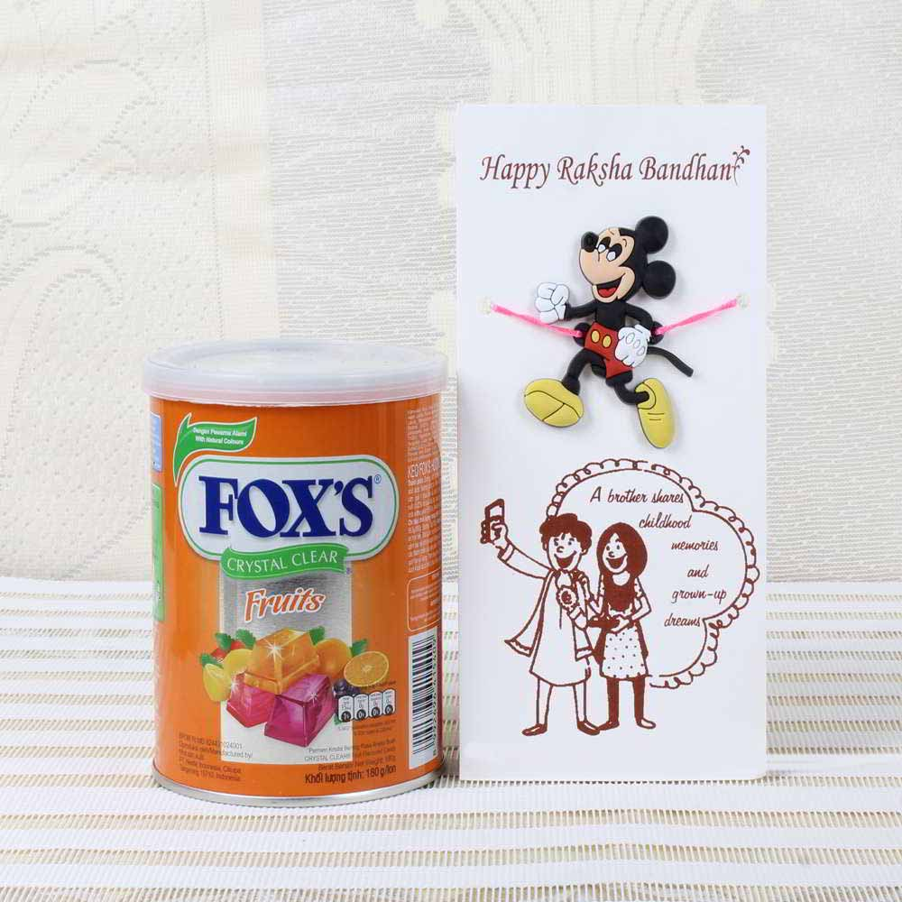 Fox Crystal Clear Chocolate Pack with Micky Mouse Rakhi