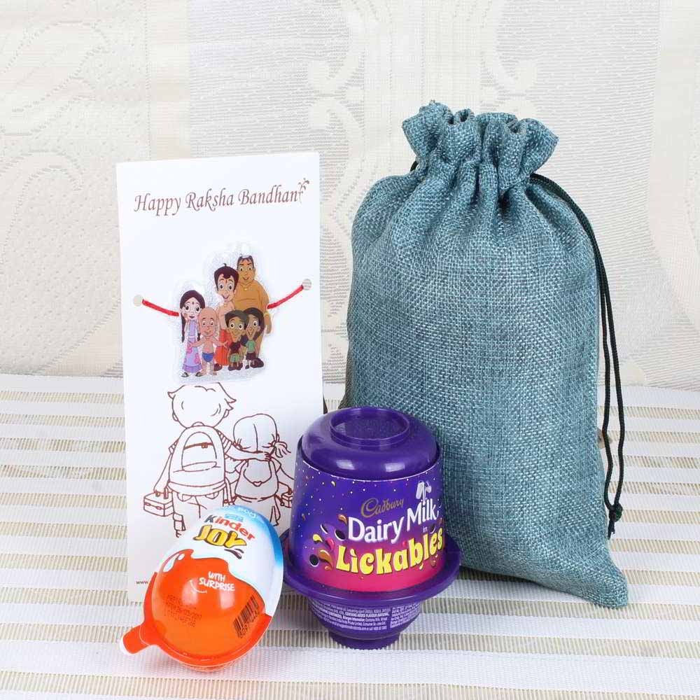 Chocolates & Cookies-Cadbury Dairy Milk Lickables with Kinder Joy and Chotta Bim Rakhi