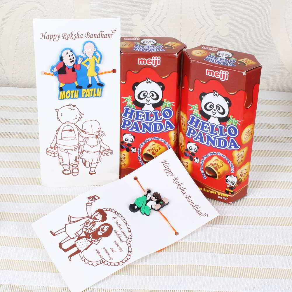 Hello Panda Chocolate Biscuits with Ben 10 Rakhi and Motu Patlu Rakhi