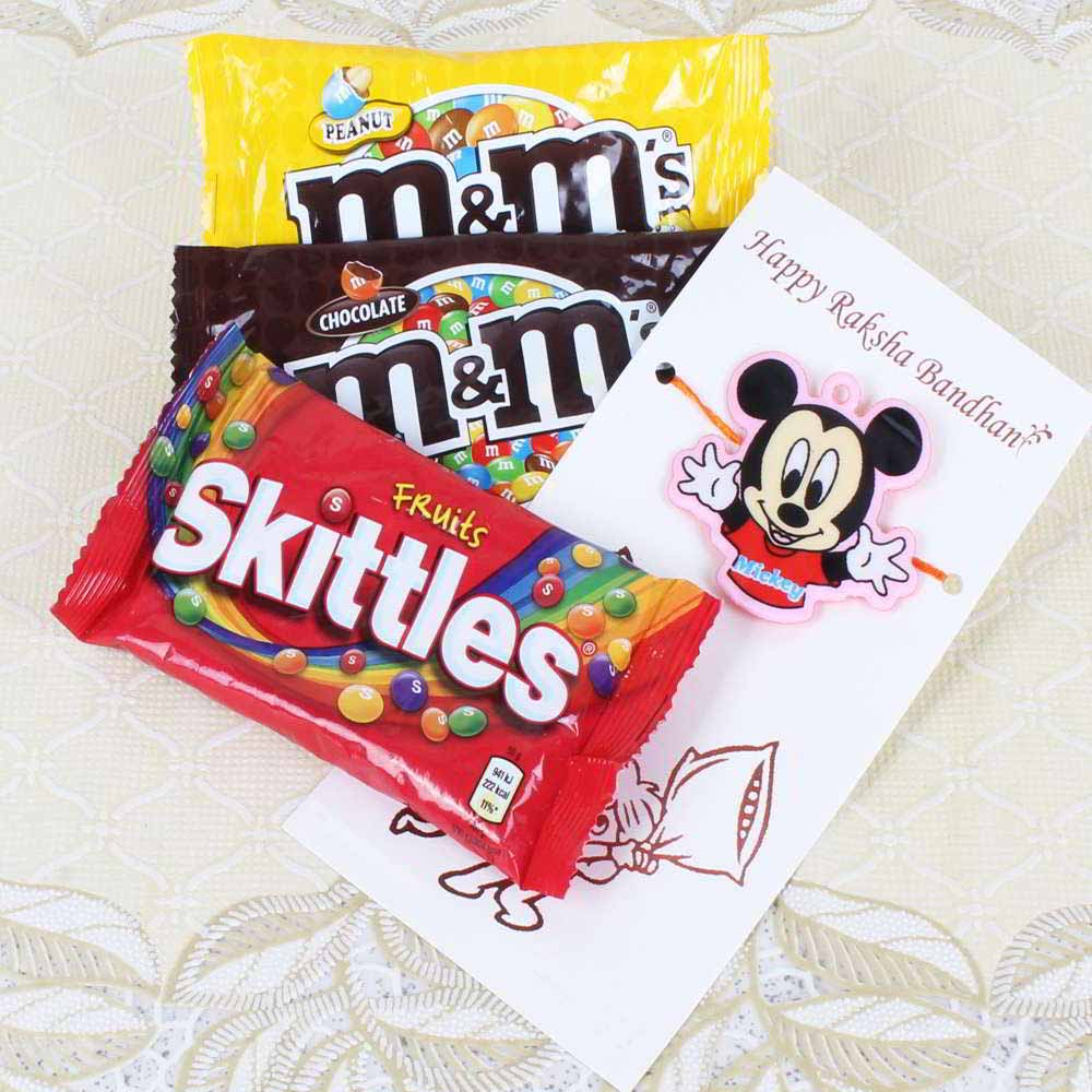 Micky Mouse Rakhi with MnM and Skittles Chocolates Packs