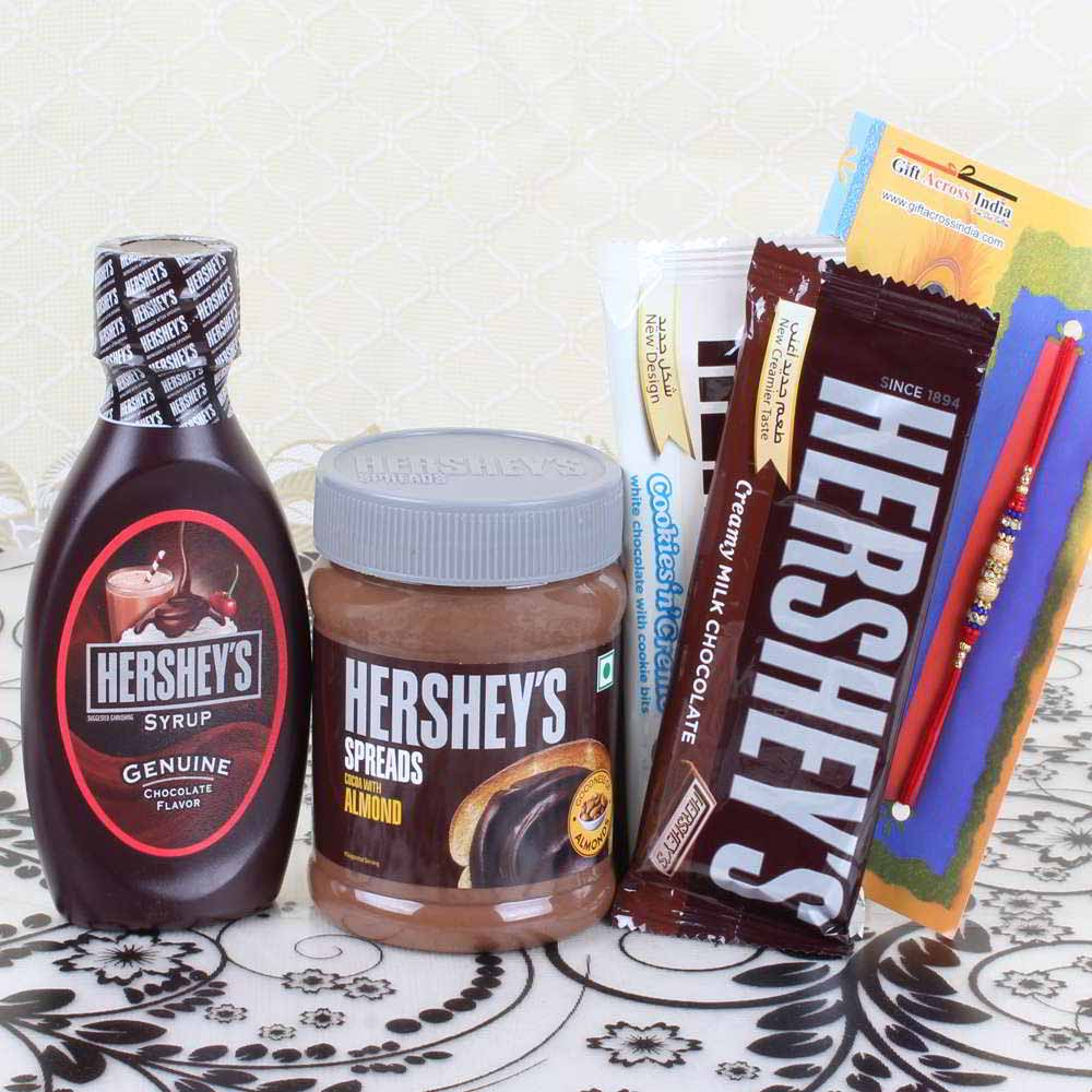 Rakhi Hampers-Rakhi with Hersheys Gift Combo