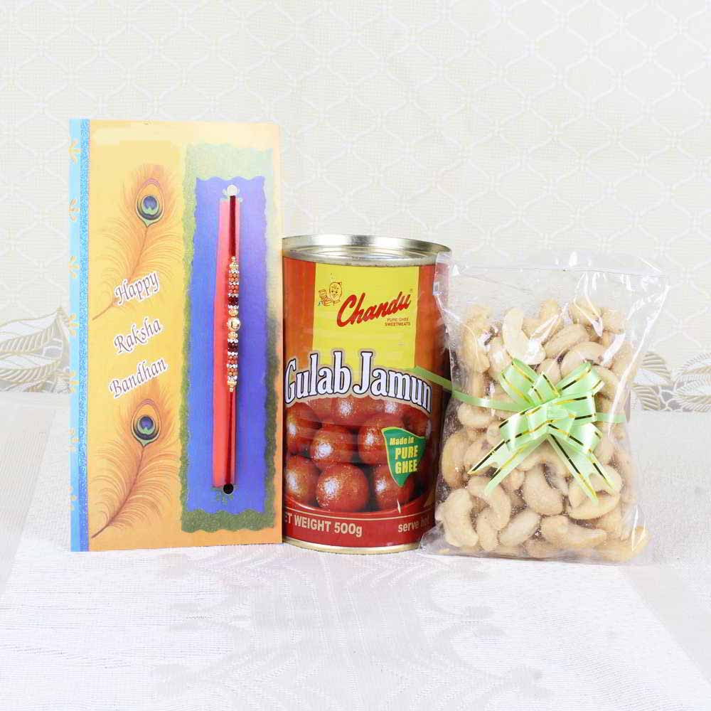 Rakhi Hampers-Rakhi Gift of Gulab Jamun with Cashew