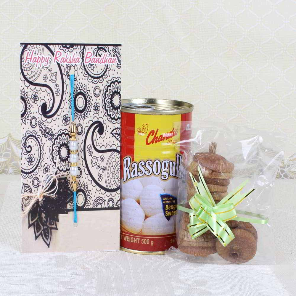 Rakhi Hampers-Rakhi Gift of Rasgulla with Fig