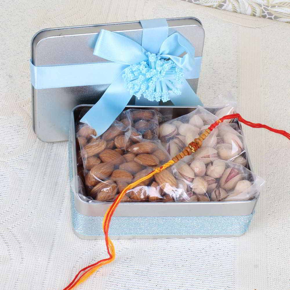 Rakhi Hampers-Gift Box of Tasty Nuts and Rakhi