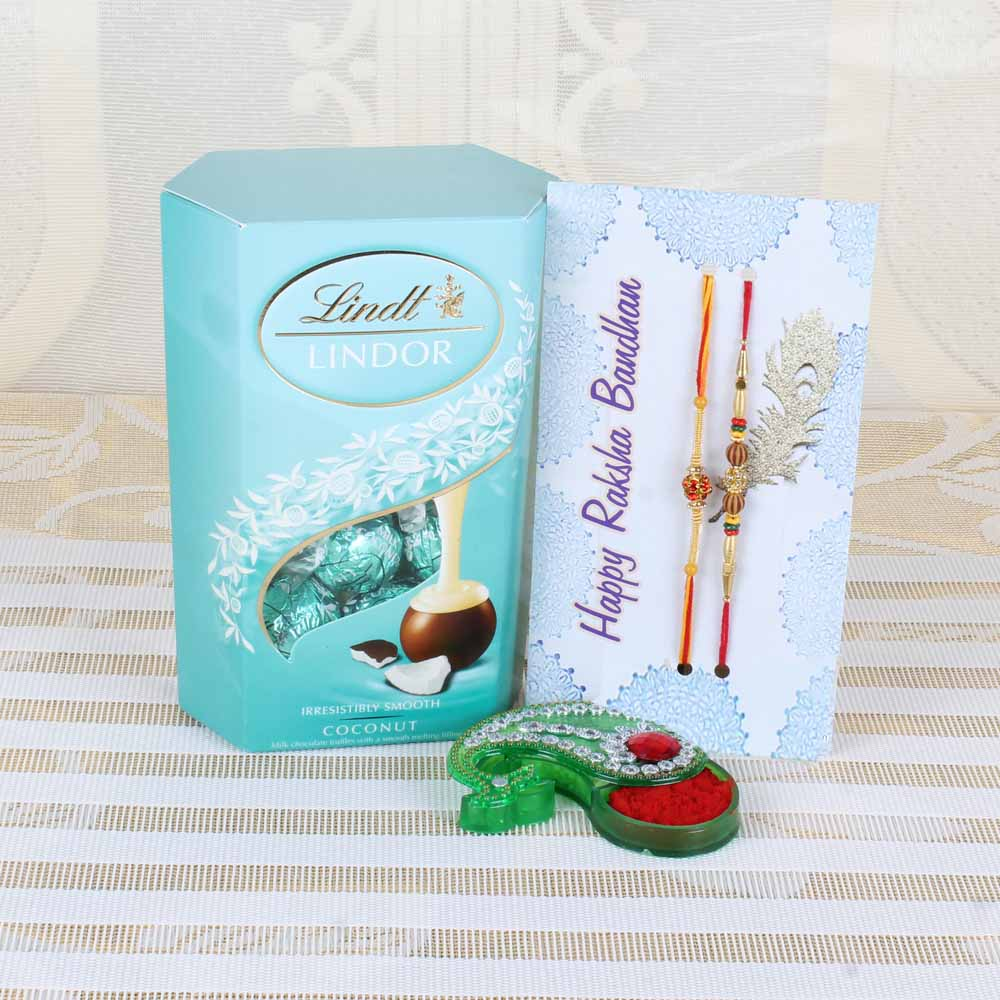 Lindt Lindor Coconut Chocolate with Designer Beads Rakhi