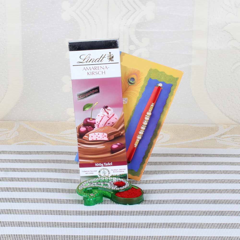 Lindt Amarena-Kirsch Chocolate with Pearl Diamond Beads Rakhi Combo