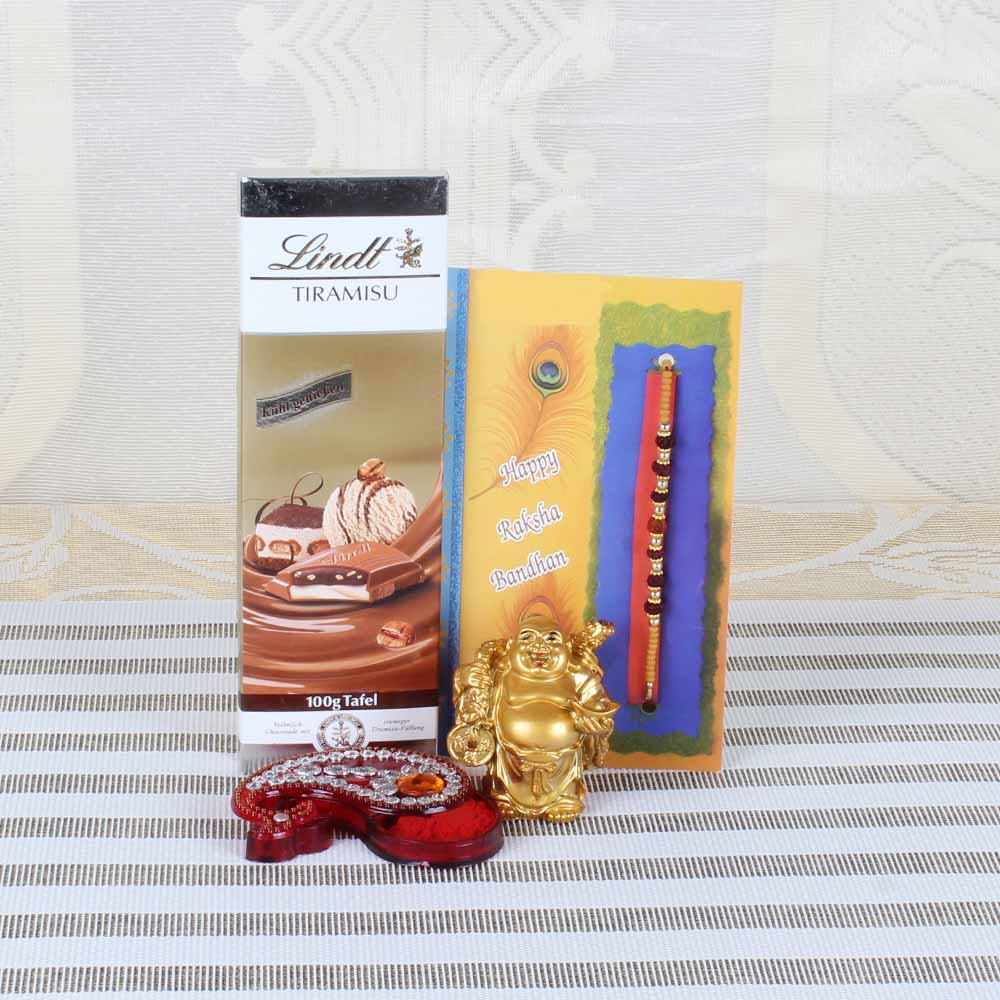 Rakhi Hampers-Rudraksha Rakhi with Lindt Tiramisu Chocolate and Laughing Buddha Combo