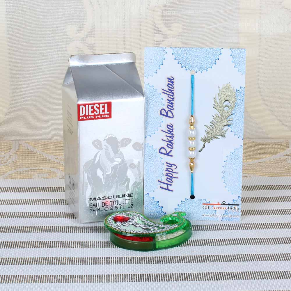Rakhi Hampers-Diesel Perfume and Pearl Rakhi Combo