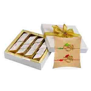 Express Delivery Metro-Kaju Katli with Set of 2 Zardozi Rakhis