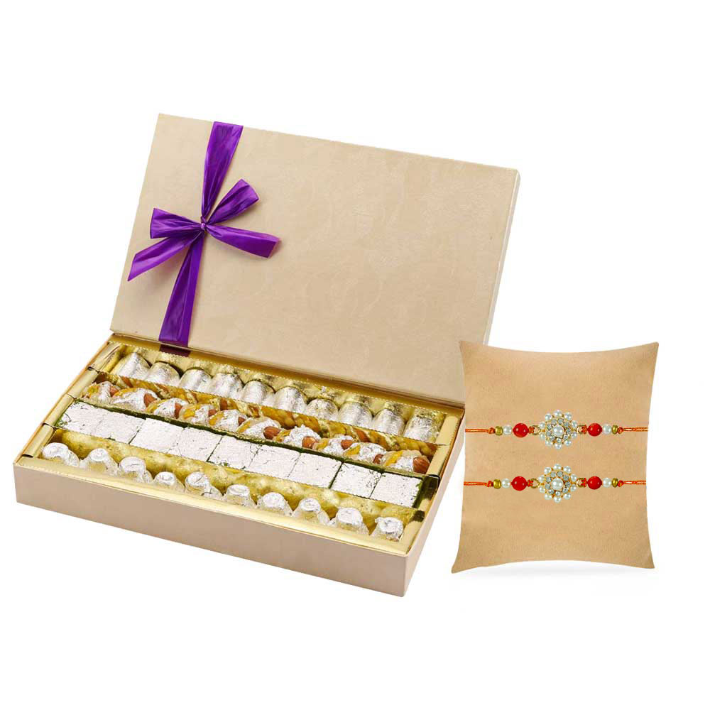 Assorted Mithai with 2 Designer Rakhis