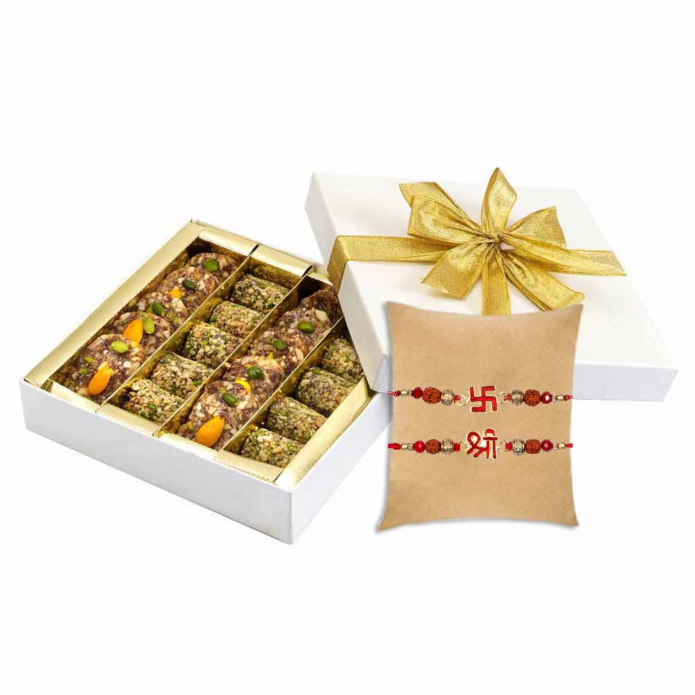 Sugarfree Khajur Walnut Mithai with Set of 2 Shubh Rakhi