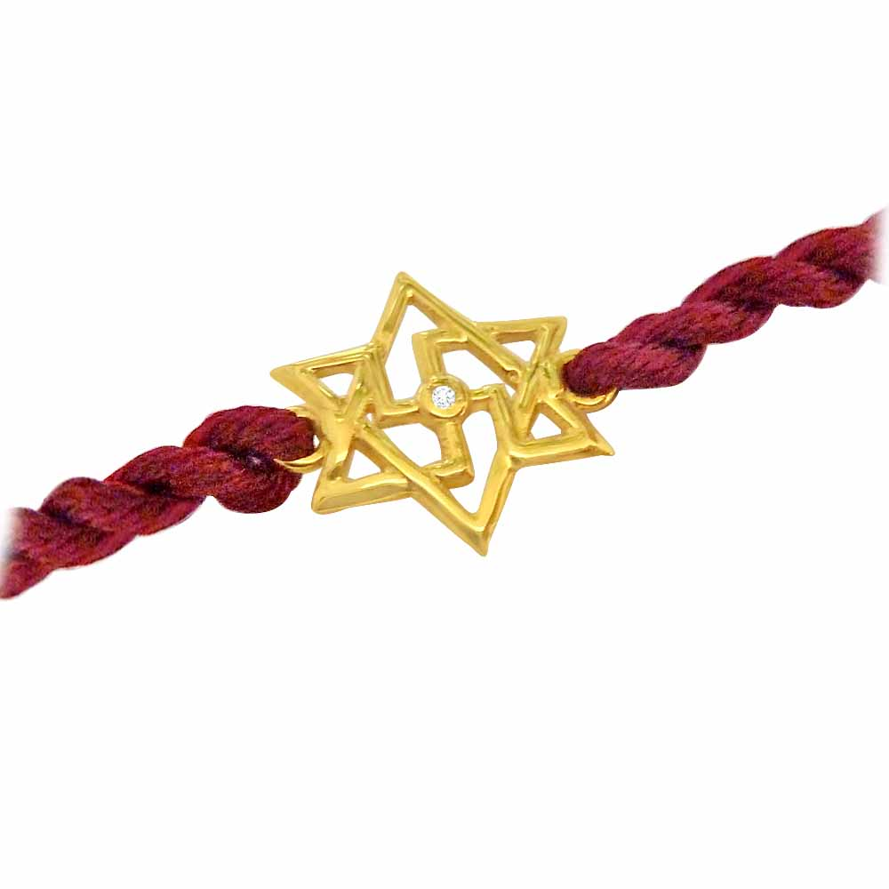 Shatkonam-Swastik - Diamond and Gold Rakhi