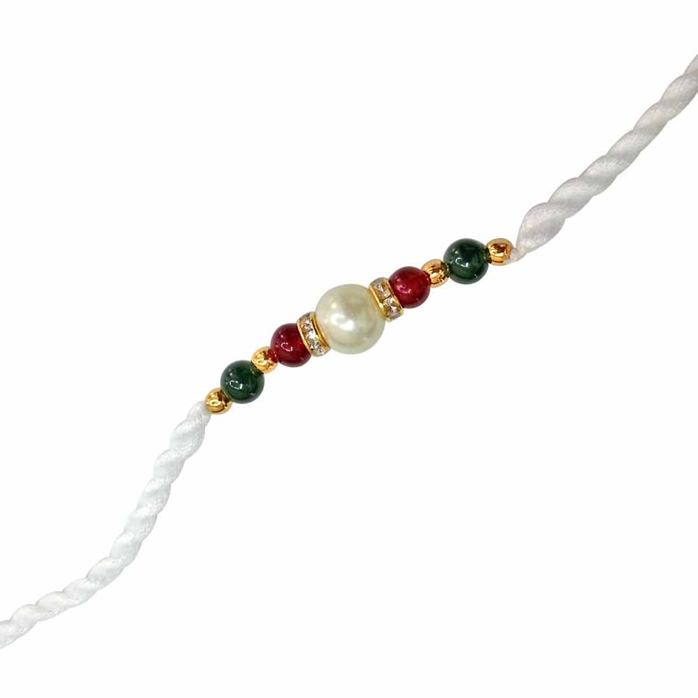 Shell Pearl & Coloured Stone Rakhi for Brothers