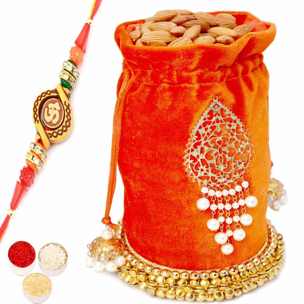Set of 2 Silver Bowl Lid Set with Dryfruits with Om Rakhi