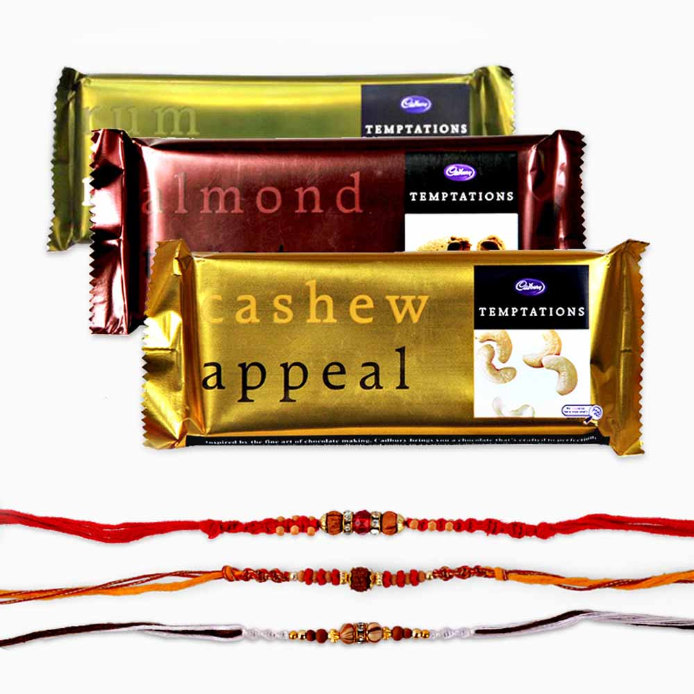 Set of Three Rakhi with Temptations Chocolate