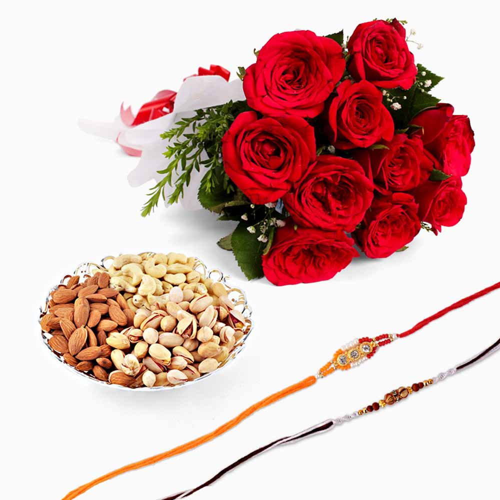 Set of Two Rakhi with Bunch of Rose and Dryfruits