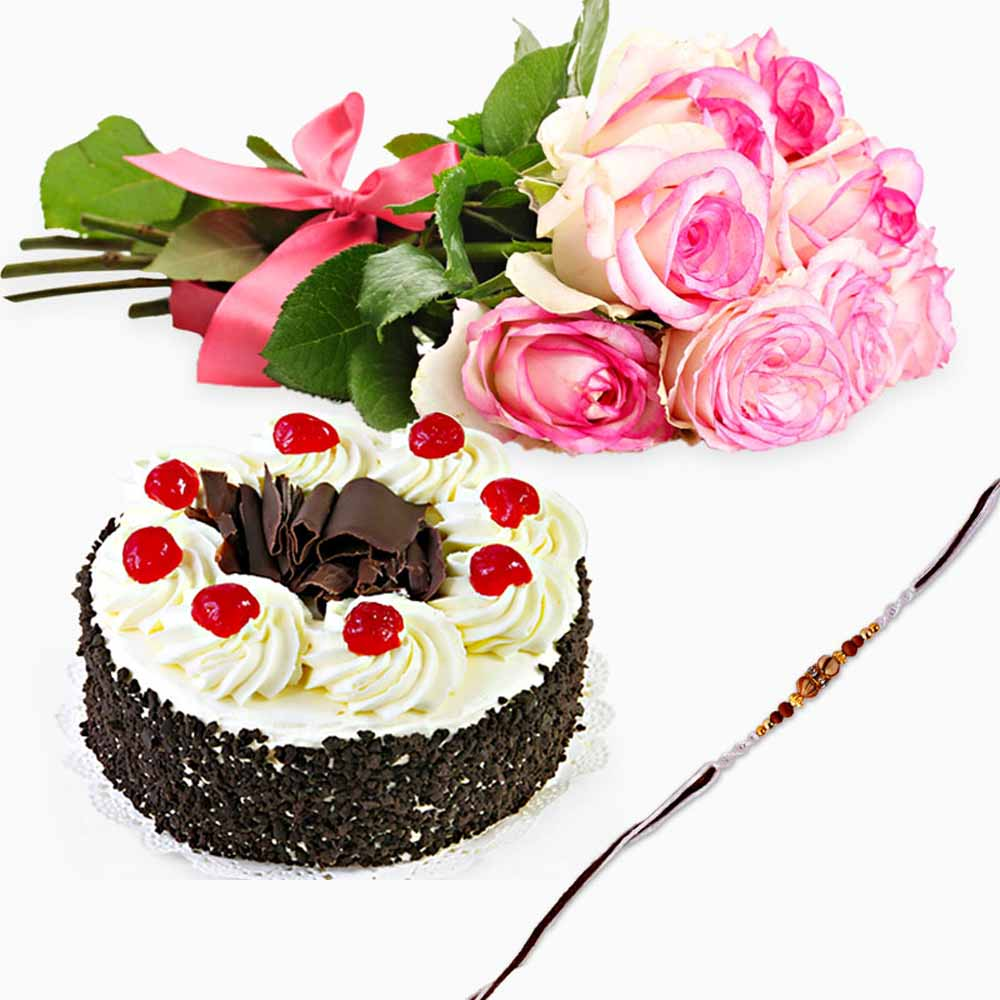 Cakes & Flowers-Black Forest Cake with Pink Roses and Rakhi
