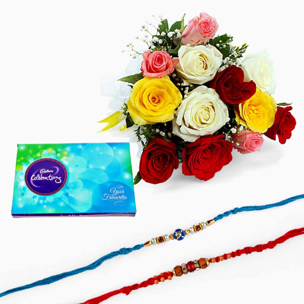 Cakes & Flowers-Mix Roses and Chocolate with Set of Two Rakhi
