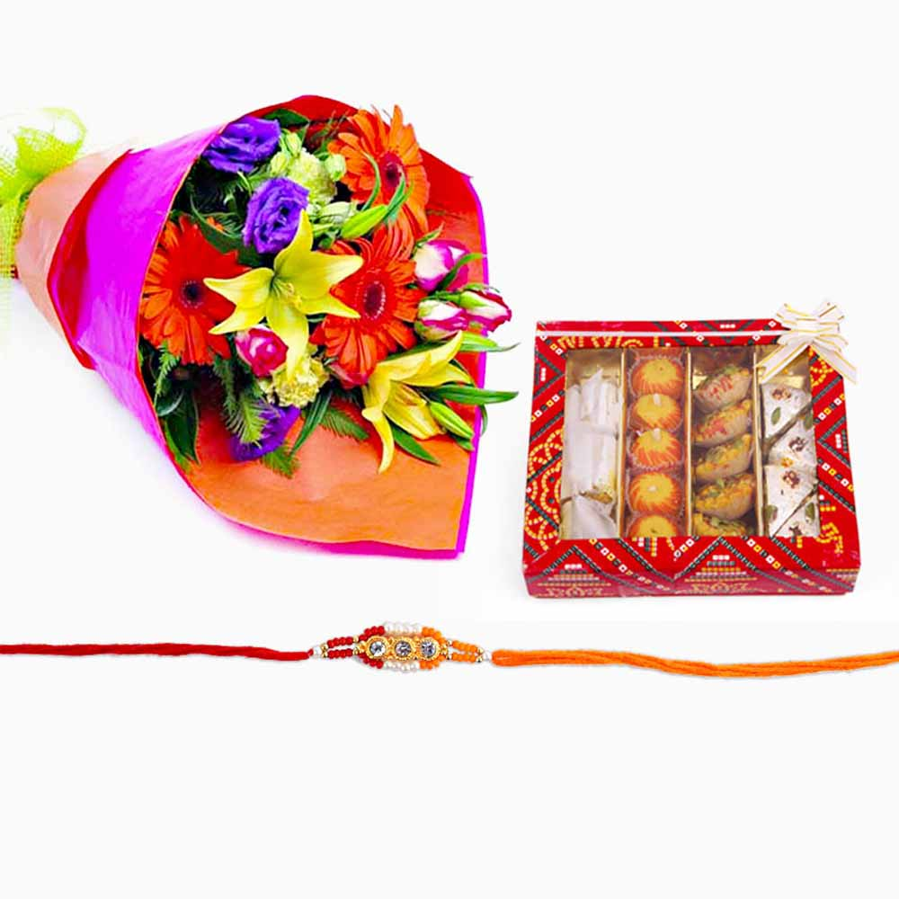 Rakhi Flower Hampers-Bouquet of Flowers with Rakhi and Assorted Sweets