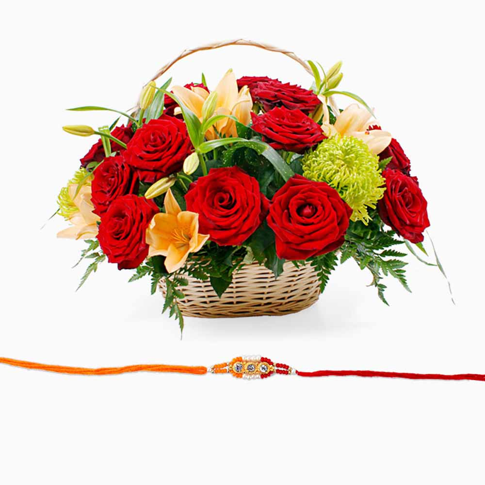 Rakhi with Mix Flowers Basket