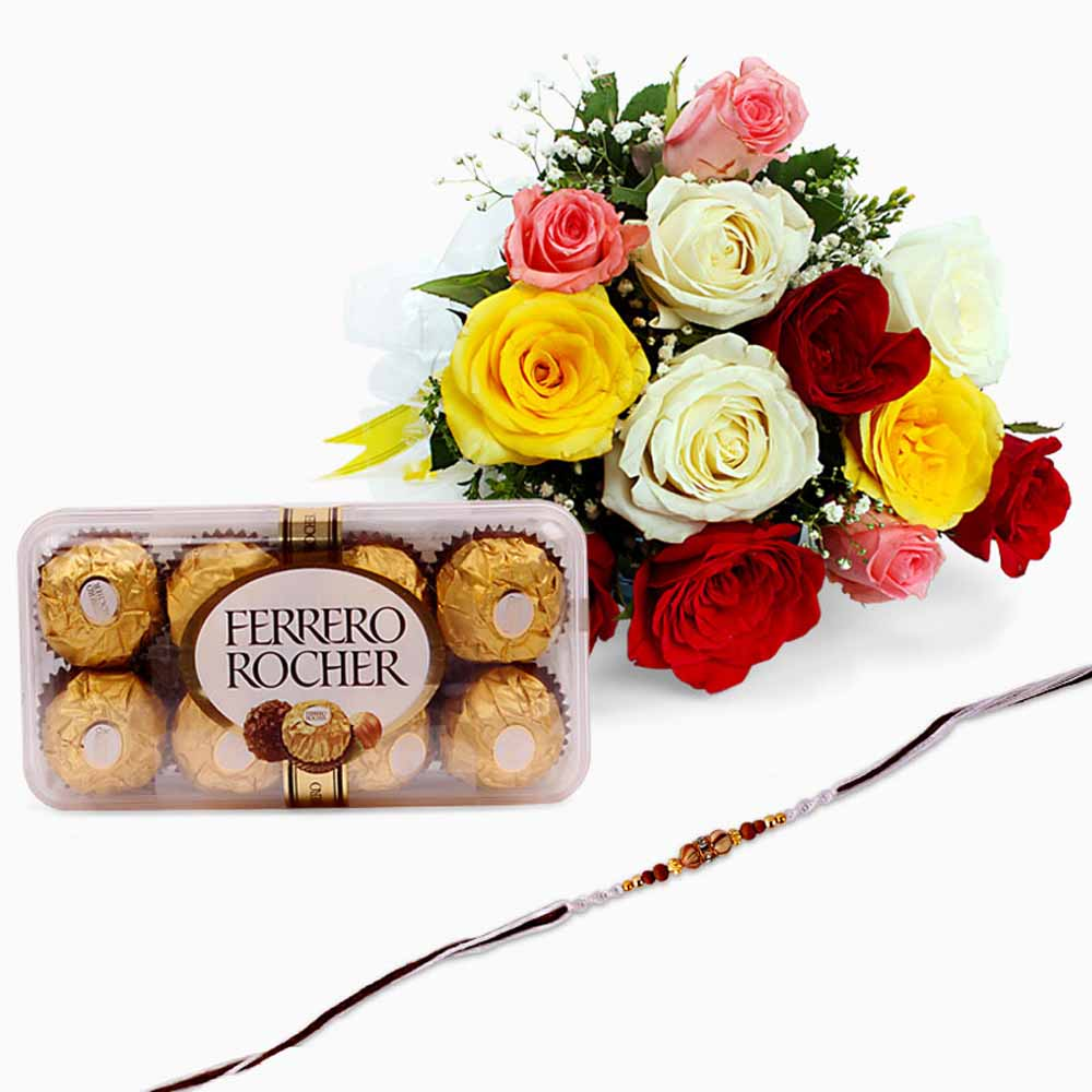 Cakes & Flowers-Mix Roses and Ferrero Rocher Chocolate with Rakhi