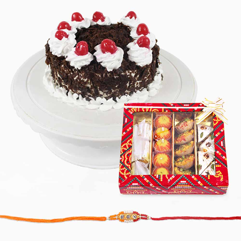 Black Forest Cake with Sweets and Rakhi