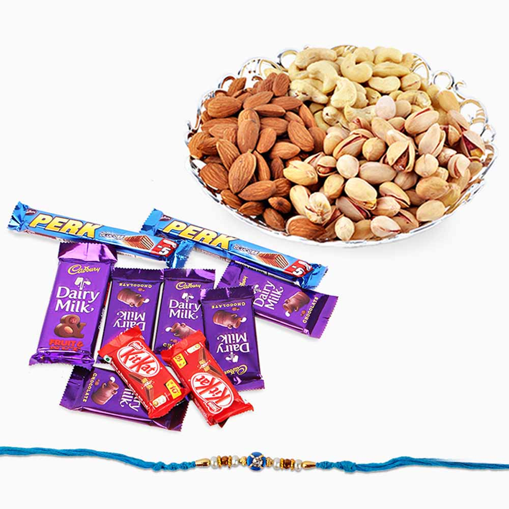Floral Hampers-Assorted Dry Fruits and Chocolates with Rakhi