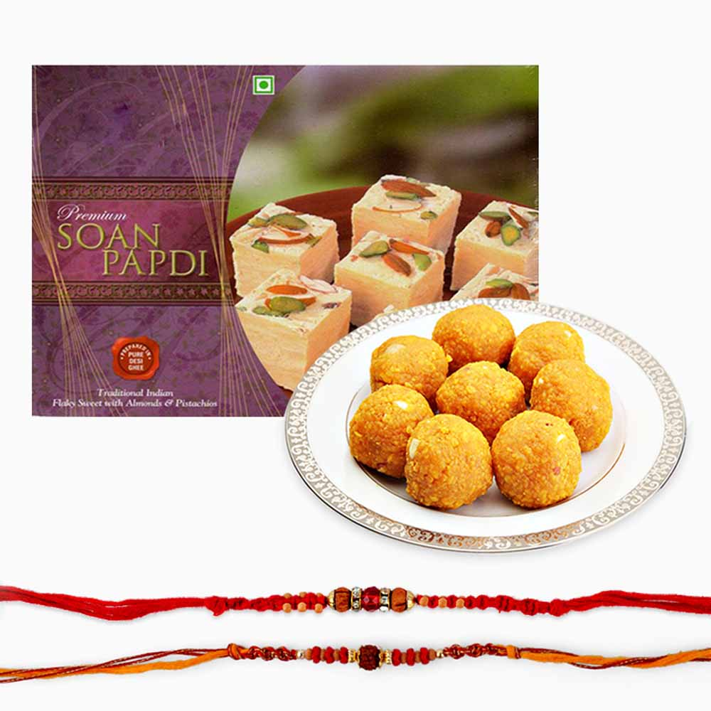Delicious Sweets and Set of Two Rakhi