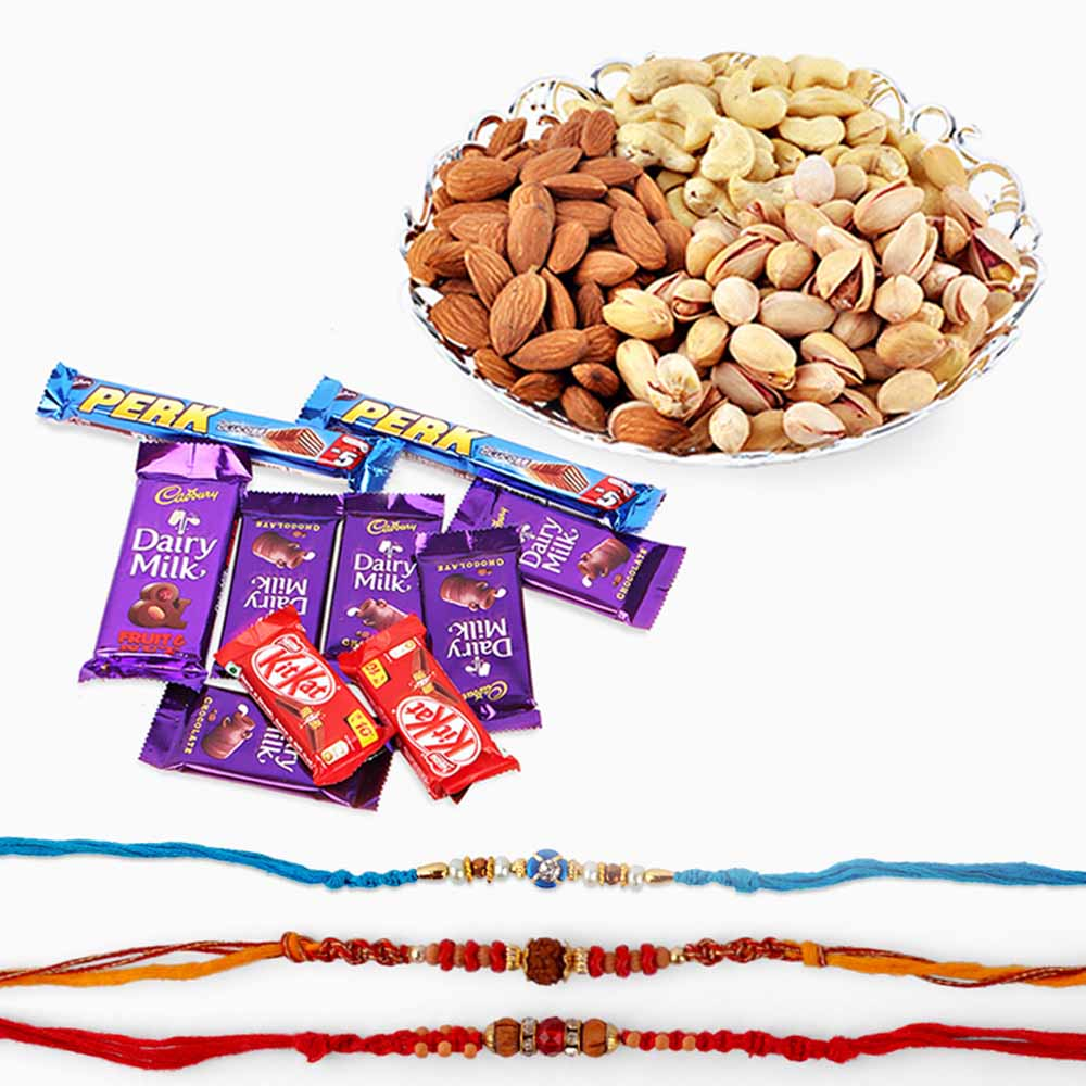 Floral Hampers-Cadbury Chocolates with Rakhi and Dry Fruits