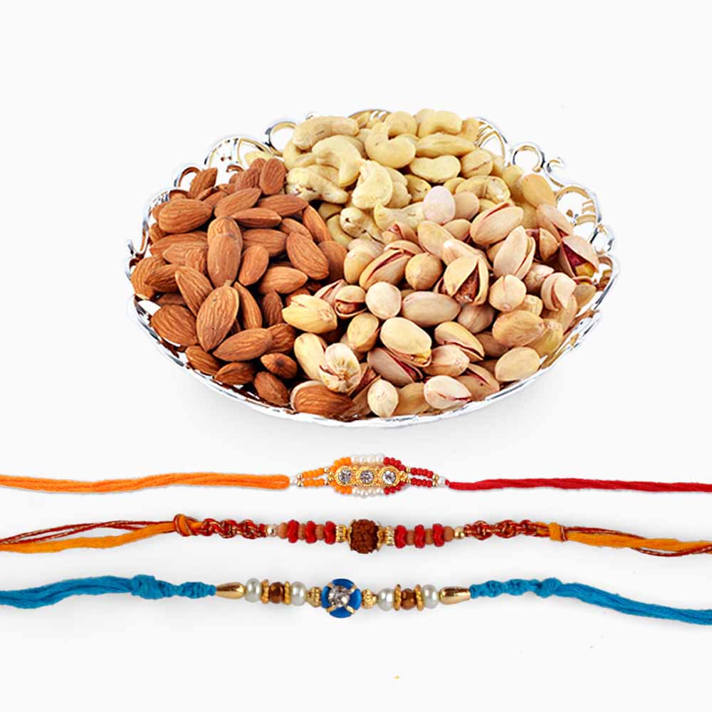 Set of Three Rakhi With Assorted Dryfruits