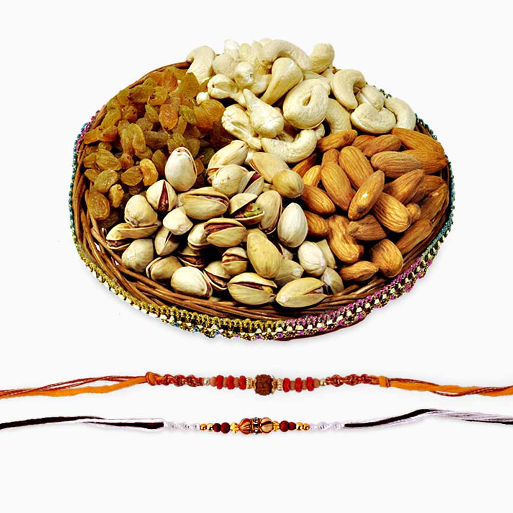 Dryfruits & Flowers-Two Auspicious Rakhis with Dryfruits