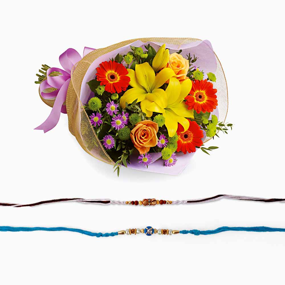 Rakhi Flower Hampers-Set of Two Rakhi with Mix Flower Bouquet