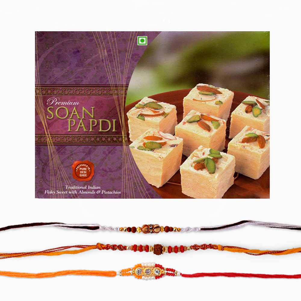 Set of Three Rakhi with Sweets