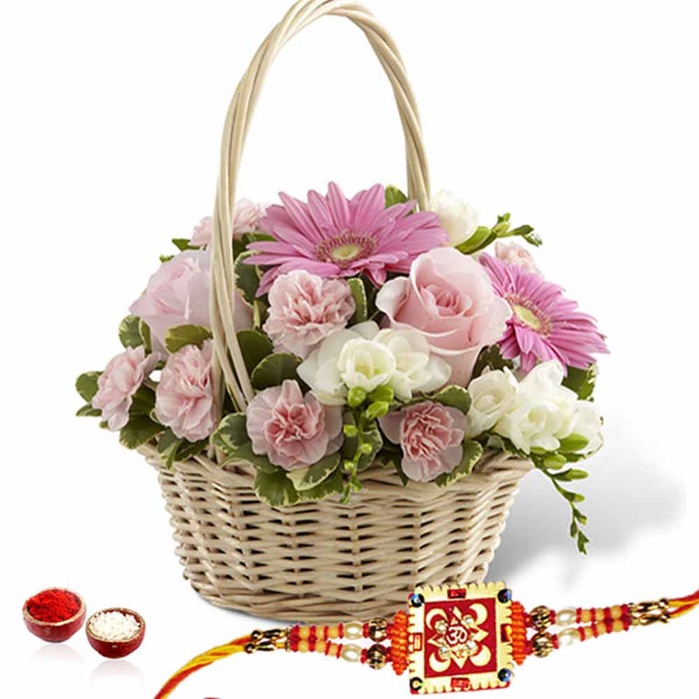 Flowers Basket Arrangement with Rakhi