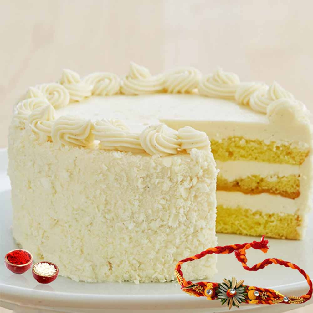 Cakes & Flowers-Butterscotch Cake with Rakhi