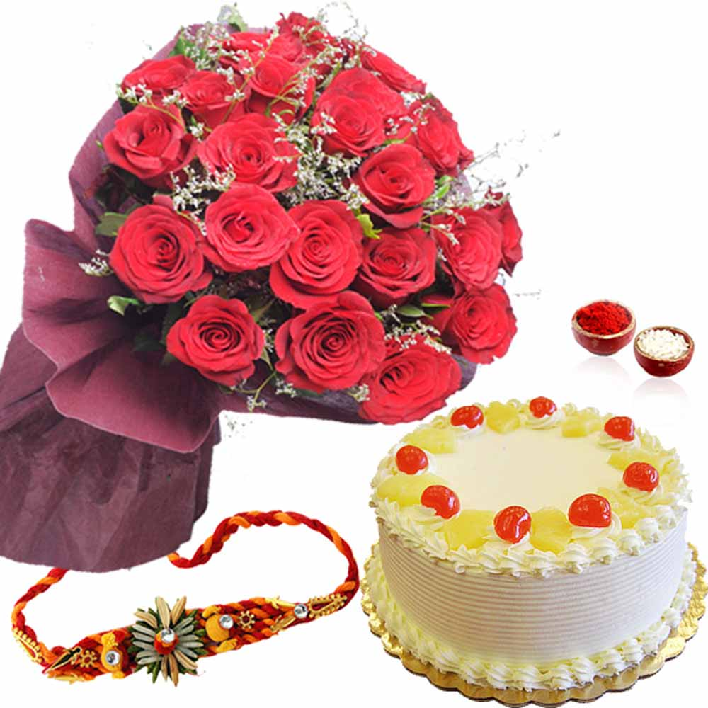 Pineapple Cake with Red Roses and Rakhi
