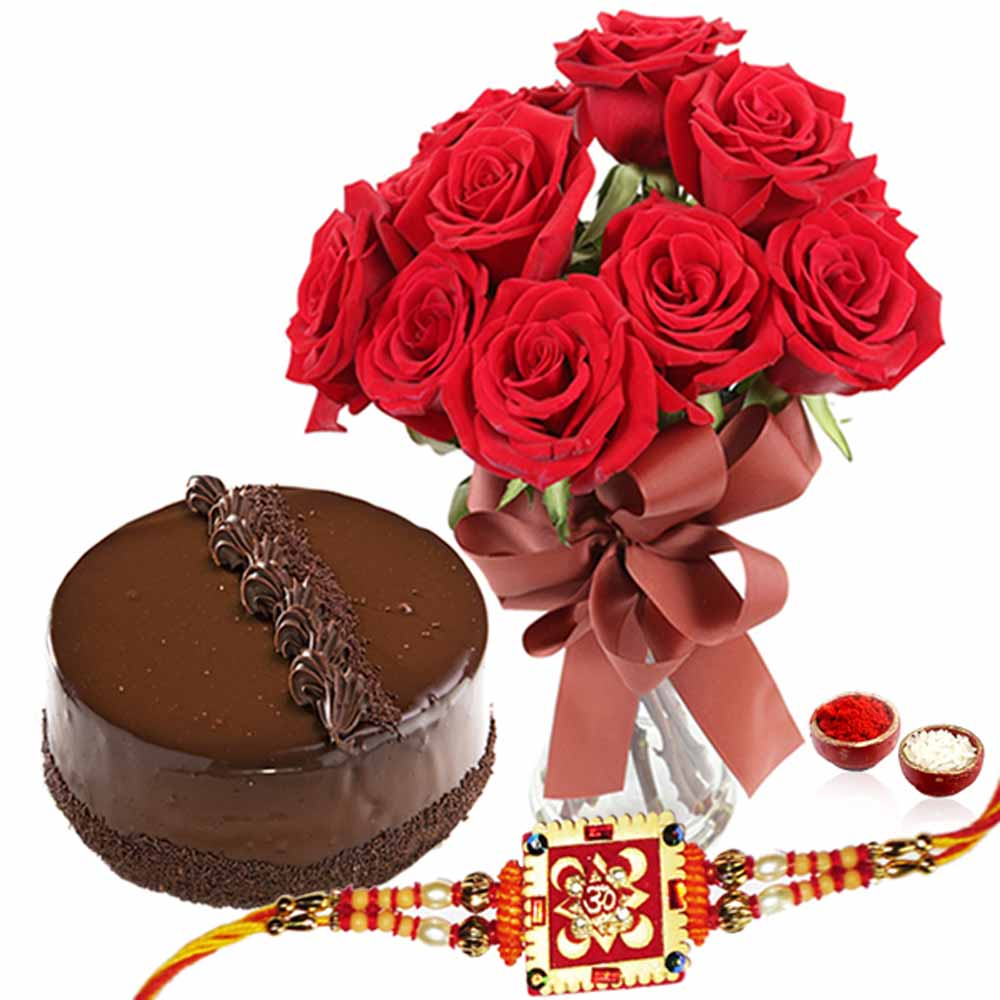 Chocolate Cake and Red Roses Vase with Rakhi