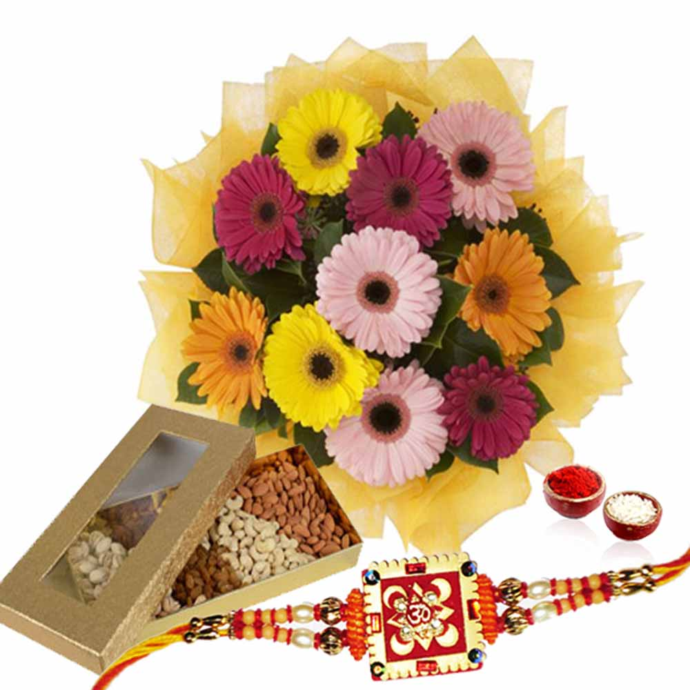 Box Of Dry Fruits with Gerberas and Rakhi