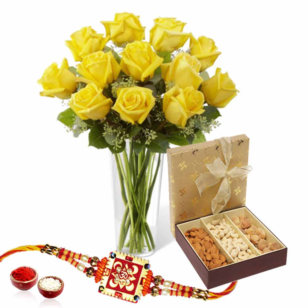 Rakhi Gift of Roses and Dry fruits