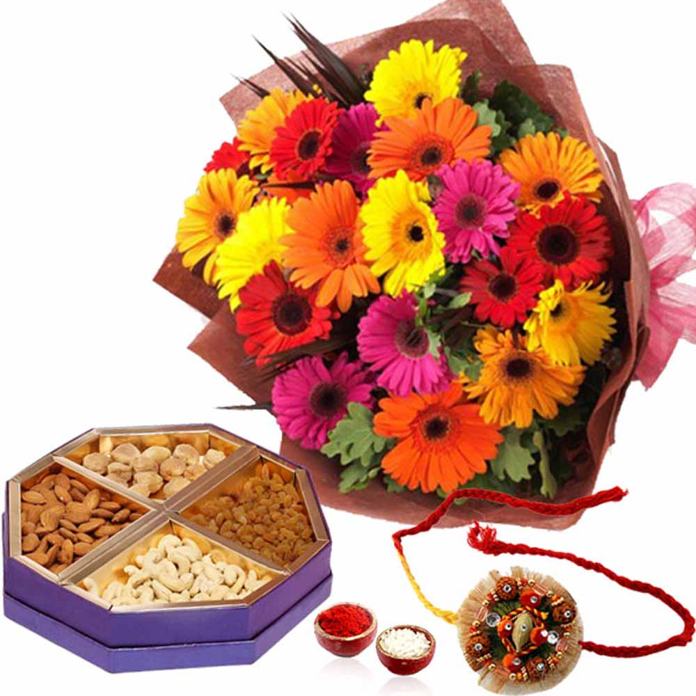 Rakhi and 20 Mix Gerberas with Dry Fruits Box