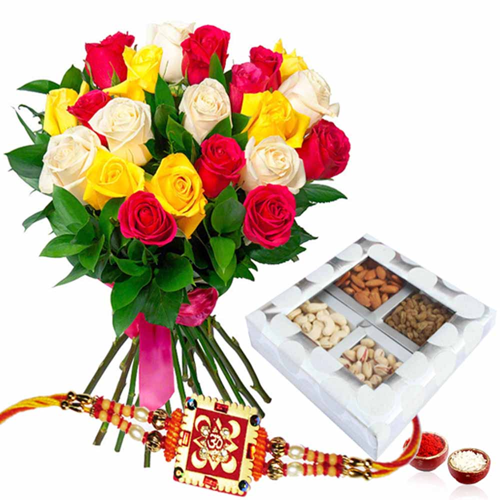 Rakhi with Assorted of Dry Fruits and Roses