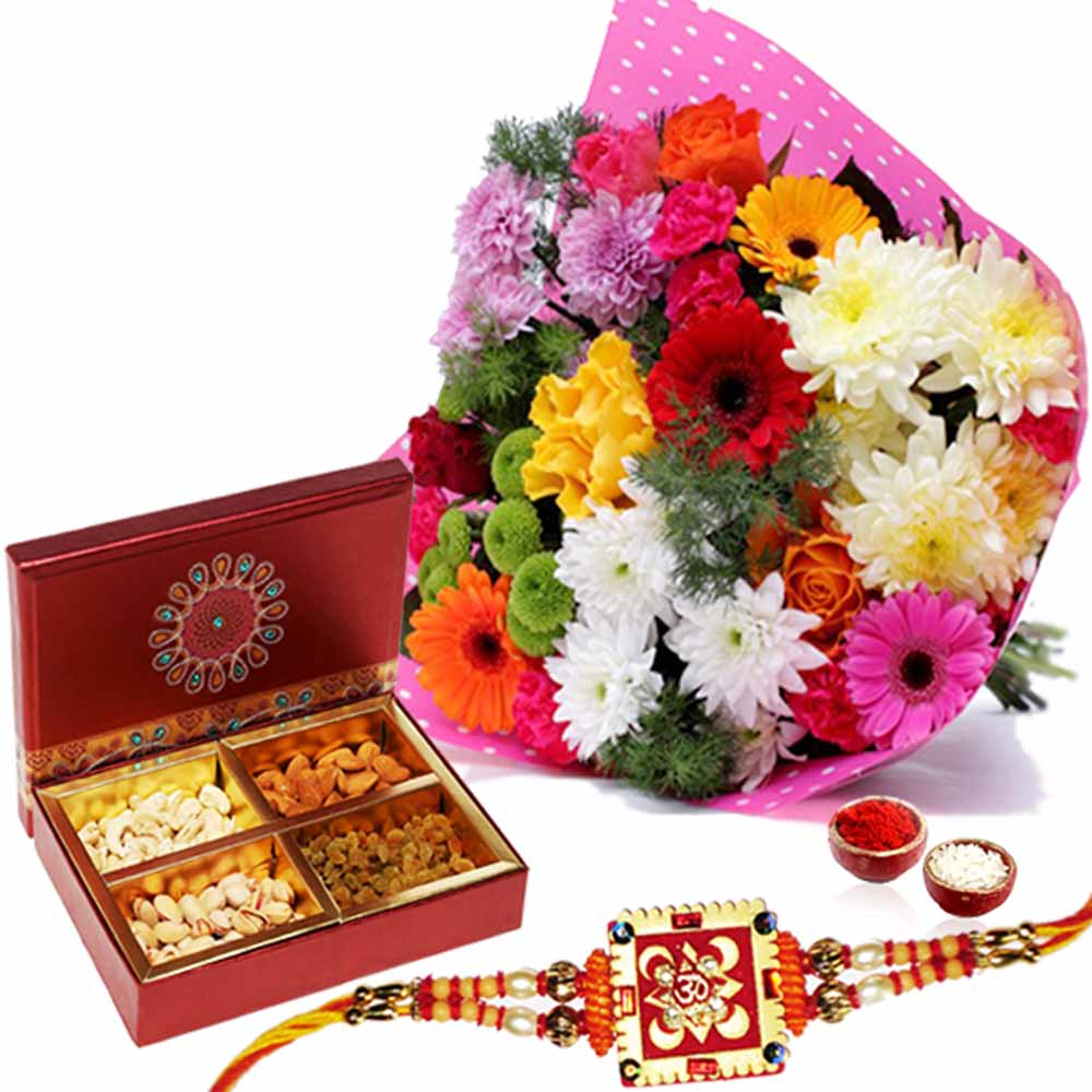 Rakhi with Dry Fruits and Flowers