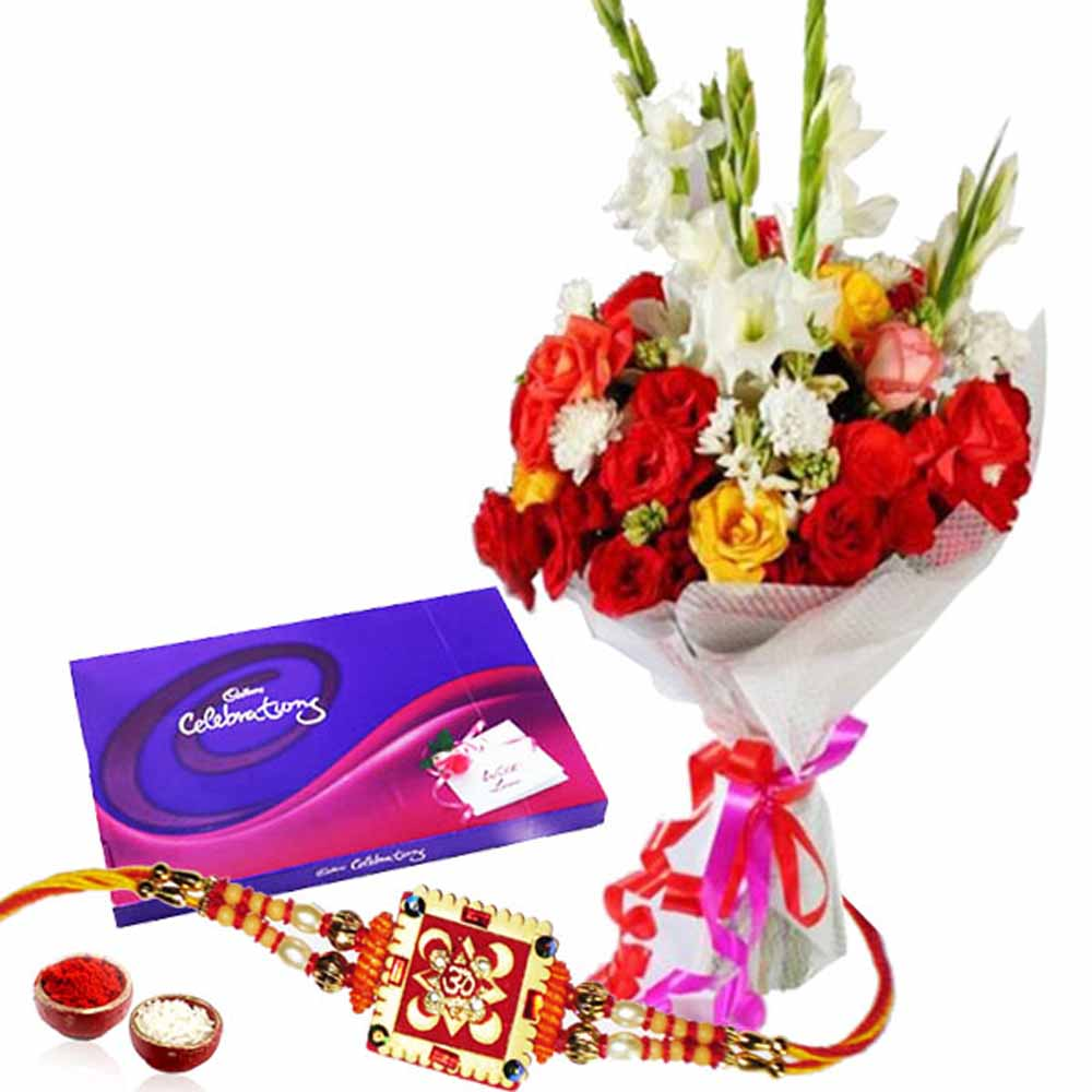 Rakhi with Cadbury Celebration Chocolates Pack and Flowers