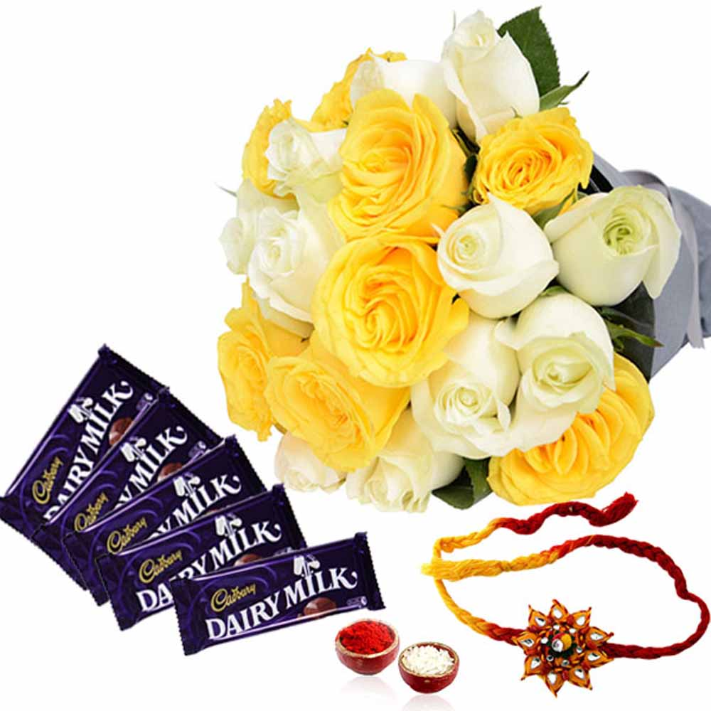 Cadbury Dairy Milk Chocolates with Rakhi and Roses