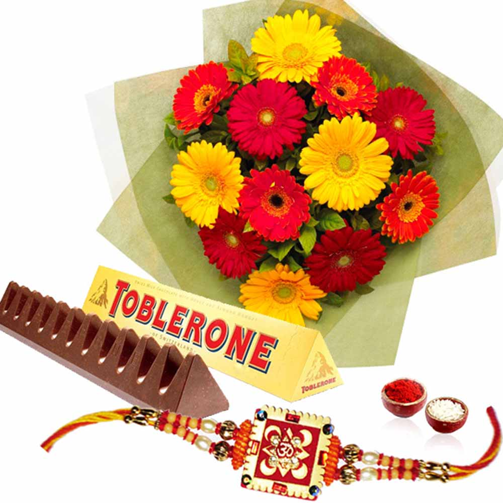 Rakhi Gift of Tolerance Chocolate and Bunch of Gerberas