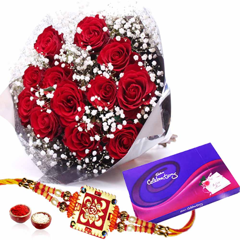 Cadbury Celebration Chocolates Pack and Red Roses with Rakhi
